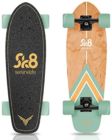 """Complete Standard Skateboard Mini Cruiser - 6 Ply Canadian & Bamboo Maple Deck Complete Double Kick Skate Board W/ 5"""" Aluminum Trucks - for Kids, Teens, Adults - SereneLife (Black)"""