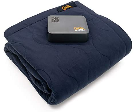 """Cozee Heated Blanket Battery Operated Portable Outdoor Cordless Heating Blanket. 60"""" x 60"""" Fleece Throw for Adults, Kids, Cold Weather Camping, RV"""