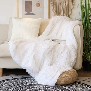 """Decorative Extra Soft Faux Fur Throw Blanket 50"""" x 60"""",Solid Reversible Fuzzy Lightweight Long Hair Shaggy Blanket,Fluffy Cozy Plush Fleece Comfy Microfiber Fur Blanket for Couch Sofa Bed,Pure White"""