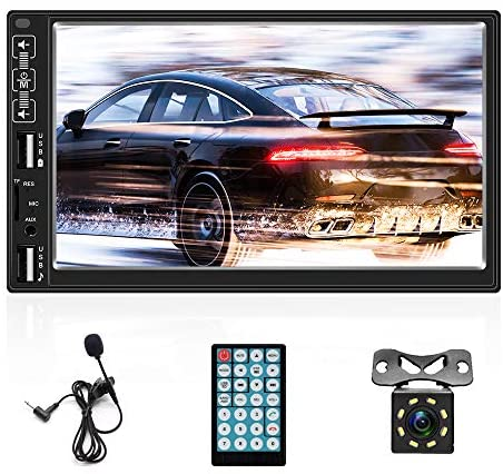 Double Din Car Stereo Audio 7 Inch Touch Screen Head Unit Bluetooth FM MP5 Radio TF Dual USB Mirror Link for Phone +Backup Camera