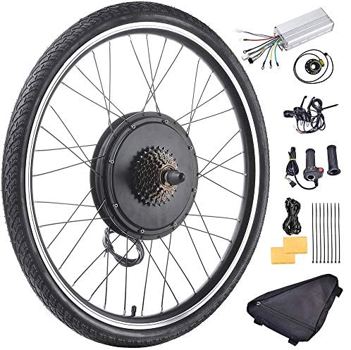 """Fineshine 26"""" Front/Rear Wheel Electric Bicycle Wheel Kit 48V 1500W E-Bike Conversion Kit, Cycling Hub Motor with Intelligent Controller and PAS System for Road Bike"""
