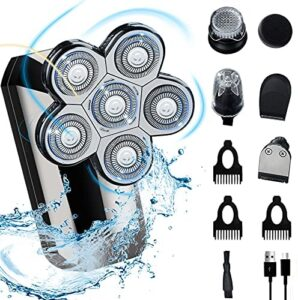 Head Shavers for Bald Men, 5-in-1 Floating Electric Head Shavers IPX7 Waterproof Wet/Dry Grooming Shaver Kit USB Rechargeable Hair Razor for Bald Look, Nose, Beard, Hair and Facial Washing