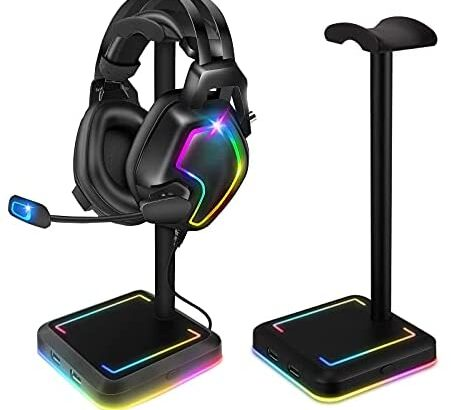 Headphone Stand, TEEDOR RGB Gaming Headset Holder with 2 USB Charger Ports & 10 Lighting Modes for Desktop PC Game Earphone Accessories