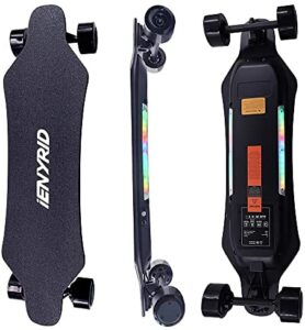 IENYRID Electric Skateboard with Remote Control for Adult, Dual 450W Brushless Hub Motor 4 Wheel Long Skateboard, Max Load 300Lbs, Up to 24MPH,21 Miles Range, Maple Deck LED Flashing Bottom Light