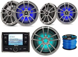 """Infinity AM/FM USB Bluetooth Waterproof Marine Receiver Bundle with 10"""" 750W Titanium Marine LED Subwoofer, 2X 8 Coaxial 450W Outdoor LED Speakers, 2X 6.5 Boat LED Speakers, Wire - OEM Replacement"""