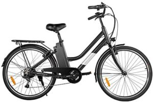 """Macwheel 26"""" Electric Bike, Removable 36V/10Ah Lithium-ion Battery, Max Speed 15.5MPH, Shimano 6/7-Speed Gear Electric Commuter Bike with Throttle & Pedal Assist"""