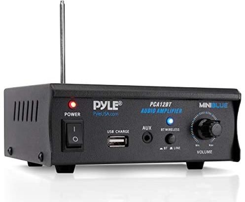 Mini Blue Series Bluetooth Stereo Power Amplifier, Wireless Audio Streaming Amp with USB Charging & Audio AUX Input (2 x 25 Watt) - Pyle PCA12BT.5_0