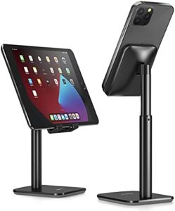 Nulaxy Phone Stand, Height Angle Adjustable Cell Phone Stand, Phone Holder for Desk Compatible with iPhone12 Mini 11 Pro Xs Xs Max Xr X 8 7 6 6s Plus, All Smartphones (4-8 inches) - Black