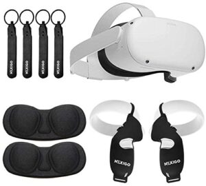 Oculus 2021 Newest Quest 2 VR Headset 256GB Holiday Bundle, Advanced All-in-One Virtual Reality Headset, NexiGo Controller Grip Cover Black + Knuckle Strap + Lens Protect Cover Accessory Bundle