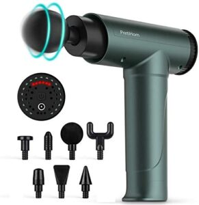 Percussion Massage Gun, PretiHom Massage Impact Device Wireless Handheld Vibration Deep Tissue Muscle Electric Gun with 6 Adjustable Speed and 8 Heads Helps Relieve Soreness
