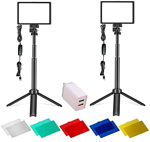Photograph Lighting 2 Packs 120 LED Light Kits for Shooting Streaming Professional, Studio Lights for Video Recording Videos Camera & Photo YouTube Stream Cameras and Video Panel Equipment Portable
