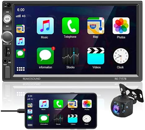 Podofo Car Stereo Radio Receiver Compatible with D-Play, 7 Inch HD LCD Capacitive Touchscreen Head Unit Support Subwoofer Output/USB/FM/AUX-in/SWC with Mic Backup Camera