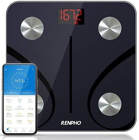 RENPHO Bluetooth Body Fat Scale, Digital Weight Scale Bathroom Smart Body Composition Analyzer Wireless BMI Compact Scale Health Monitor with Smartphone APP, 396 lbs