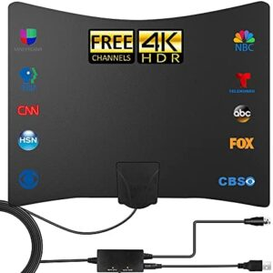 TV Antenna - 2021 Newest Amplified HD Digital Indoor TV Antenna 250 Miles Long Range - Compatible 4K 1080p Fire tv Stick and All Older TVs with Amplifier Signal Booster for Free Channels