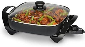 """Toastmaster Skillet with Glass Lid, 11"""", Black"""