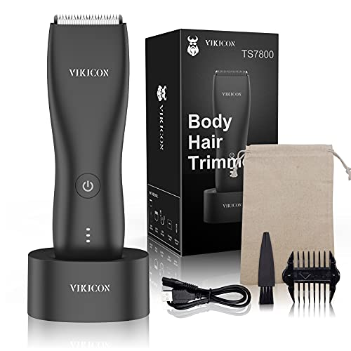 VIKICON Electric Groin Hair Trimmer for Men: Replaceable Ceramic Blade Heads Waterproof Wet/Dry Body Hair Trimmer Ultimate Male Hygiene Razor with Standing Recharge Dock Black