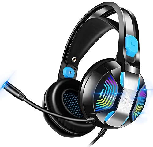 Wired Gaming Headset with Xbox One(Adapter Not Included), PC, Laptop, PS5, PHOINIKAS H100 PS4 Headset with 7.1 Stereo Sound, Over Ear Headphone with Noise Canceling Mic & RGB Light, Gift for Kids