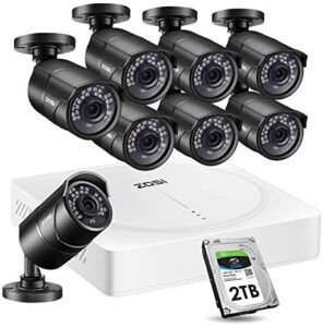 ZOSI 5MP Home Security Camera System Outdoor Indoor, H.265+ CCTV DVR 8 Channel with Hard Drive 2TB and 8 x 2K(5MP) Weatherproof Surveillance Bullet Cameras with 120ft Night Vision , Easy Remote Access