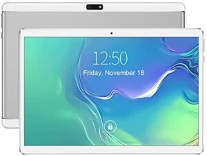 10 inch Android Tablet PC, 4 GB RAM, 64 GB Storage, Octa -Core Processor, Android OS, 1280 x 800 IPS HD Display, Dual SIM Card Slots, Media Entertainment (Silver)