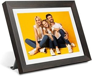 10 inch Digital Picture Frame, Smart WiFi Digital Photo Frame 1280x800 IPS Screen, 16GB Storage, Adjustable Brightness, Photo Deletion, Auto-Rotate, Background Music, Support USB & Micro SD Card