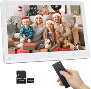 12 Inch Digital Picture Frame 1920x1080 Motion Sensor IPS Screen 16:9 Include 32GB SD Card 1080P HD Video Frame, Photo Auto Rotate, Support 128GB USB Drive, SD/MMC/MS Card White