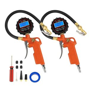 [2 Pack]FOVAL Digital Tire Inflator with Pressure Gauge 250 PSI Air Chuck Compressor Accessories with Rubber Hose and Quick Connect Coupler for 0.1 Display Resolution