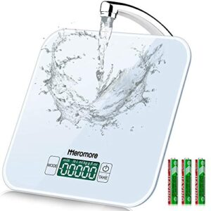 33lb Food Scale, Meromore Digital Kitchen Scale Weight Grams and oz for Cooking Baking,1g/0.1 oz Precise Graduation, 8 Units, Tare Function, Backlit LCD, Waterproof Tempered Glass Surface (White)