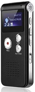 8GB Digital Voice Recorder, SLEPPGO Portable USB Rechargeable Voice Recorder,Digital Audio and MP3 Player for Meetings, Interviews and Lectures(Black)