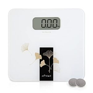 AIRSCALE Digital Large Display Electronic Bathroom Weight Scale for People, Highly Accurate Body Weighing with Ultra Slim Design, 330lb Large Wide Platform LCD Display Battery Included - White