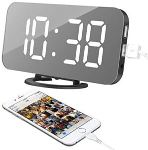 """Alarm Clock, LED Digital Clock with 6.5"""" Large Display, Dual USB Charging Ports, Easy Snooze Function, Diming Mode, Mirror Surface Clock for Bedroom Living Room Office Travel (White Digital)"""