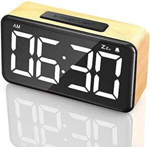 Alarm Clock,Digital Clock Easy Use Clock with Snooze 6'' LED Large Display Number,6 Brightness Dimmer,Wood Grain Clock with USB Charge,Electric Beside Clocks for Home Bedrooms Desk (Wood)