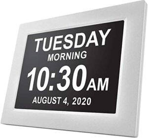 American Lifetime, Newest Version, Day Clock Extra Large Impaired Vision Digital Clock with Battery Backup and 5 Alarm Options (White)