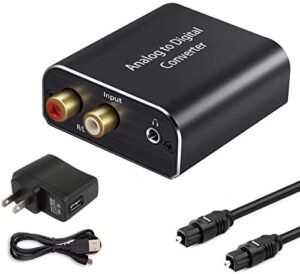 Analog to Digital Audio Converter, Hdiwousp Aluminum RCA to Optical Adapter with Toslink Cable, 2RCA R/L or 3.5 mm Jack Aux to SPDIF and coaxial, ADC Adapter for PS4 Xbox HDTV DVD Headset