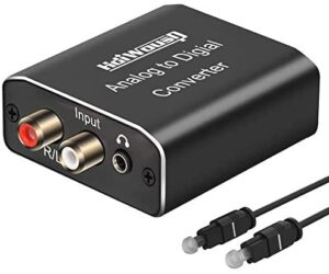 Analog to Digital Audio Converter, Hdiwousp RCA R/L or 3.5mm Jack AUX to Digital Coaxial Toslink Optical SPDIF Audio Adapter for PS4 Xbox HDTV DVD Headphone (Aluminum)