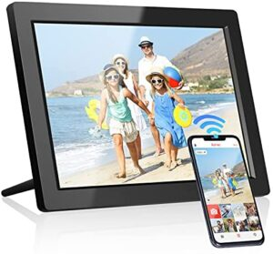 Arafuna WiFi Digital Picture Frame, 10 Inch IPS Touch Screen Digital Photo Frames with 16GB Storage, Smart Frame with Clear Display to Share Photos, Videos via APP, Auto-Rotate&Wall-Mountable - Black