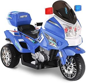 BABLE Motorcycle for Kids, 12V Kids Electric Motorcycle, Kids Ride On Police Motorcycle Bike, 3 Wheels Kids Motorcycle Ride On Electric Dirt Bike for 3-7 Years Boys & Girls, Blue