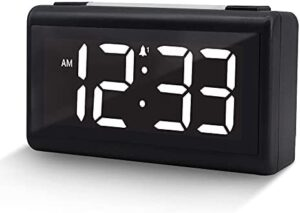 BOCTOP Small Digital LED Alarm Clock with Dual Alarm, Snooze, 0-100% Dimmer, Adjustable Alarm Volume, USB Charger, 12/24HR, Compact Portable Clocks for Bedroom, Bedside, Travel, Easy to Set.