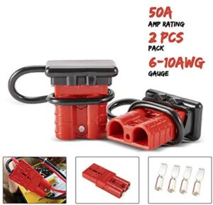 BUNKER INDUST 6-10 Gauge 50A Battery Quick Connect/Disconnect Wire Harness Plug Kit Battery Cable Quick Connect Disconnect Plug for Recovery Winch Trailer Auto Car Motorcycle Electrical Devices,2 Pcs