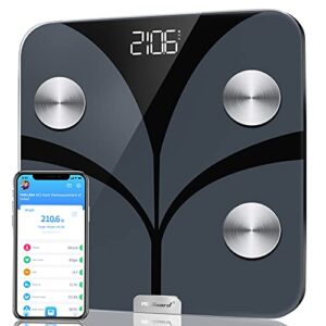 Body Fat Scale, WeGuard Body Weight Scale and Body Composition BMI Smart Scale, Bluetooth Digital Bathroom Scale with Heart Rate Tracker, 15 Measurements Analyze with Smartphone App, 396lbs