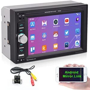 """Camecho 2 din Car Multimedia Player 1080P Full HD 6.2"""" LCD Touch Screen Car Stereo Audio MP5 Player Support Bluetooth/TF/USB/FM Radio&Android Phone Mirror Link+Steering Wheel Control&Backup Camera"""