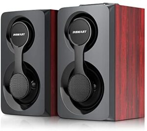 Computer Speakers, Support Wired and Bluetooth 5.0, Wooden Speakers with 2.0 Stereo Volume Control, Triple Channel Multimedia Speakers for PC/Laptops/Desktops/Phone/Ipad/Game Machine - 10W (Brown)