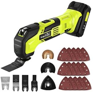 Cordless Oscillating Tool, 20V Battery-Powered Oscillating Multi Tool with 6 Variable Speed Control and 22pcs Accessories for Cutting, Sanding, Trimming and Removing (Battery&Charger Included)