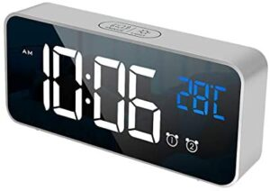 Digital Alarm Clock, Rechargeable Mirror Alarm Clock Bedside with LED Temperature Display, Snooze, Non Ticking, Adjustable Volume & Brightness, 2 Alarms Set with 13 Music (Silver)