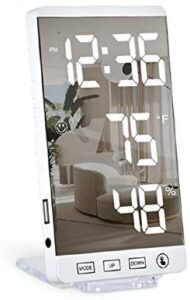 Digital Alarm Clock,LED Mirror Clock with USB Charger Ports,Snooze Function, Brightness Dimmer, Small Desk Bedroom Bedside Clocks (White)
