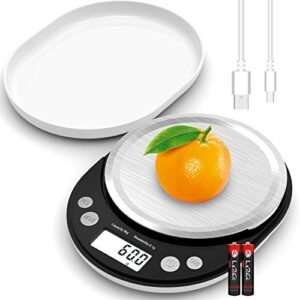 Digital Food Scale, 6.6LB Kitchen Scale with USB Charging Cable Readability 0.1G/0.003 OZ, Food Scales Digital Weight Gram and OZ Cooking Scale with Protective Cover/Tray (Not Rechargeable Battery)