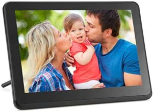 Digital Photo Frame WiFi Digital Picture Frame kimire 1920x1080 Touch Screen, Support Thumb USB Drive and SD Slot, Music Player, Alarm Clock, Share Photo and Video via APP, Cloud, Email(10inch Black)