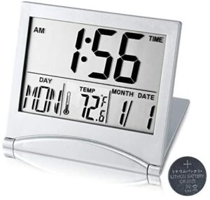 Digital Travel Alarm Clock Battery Operated, Portable Large Number Display Clock with Temperature, 12/24 H Small Desk Clock -Silver