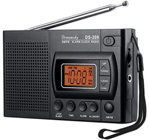 DreamSky Portable AM FM Radio, Battery Operated Radio with Earphone Jack, Transistor Radio with Alarm Clock, 12/24H Time Display, Backlight, Sleep Timer, Small Radio for Walking, Emergency.