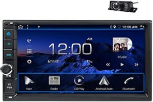 """EinCar Android Auto Double Din Car Stereo Compatible with Carplay Car Audio Android 7"""" Capacitive Touch Screen Radio with Bluetooth Support Steering Wheel Control AM/FM 2GB RAM+32GB ROM+Backup Camera"""