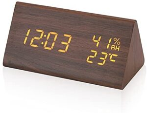 Electime Digital Alarm Clock Wooden Clock LED Time Display 3 Alarm Settings Humidity & Temperature Detect with USB Charger Electric Clocks for Bedroom, Bedside ,Desk, Office, Kids and Families (Brown)